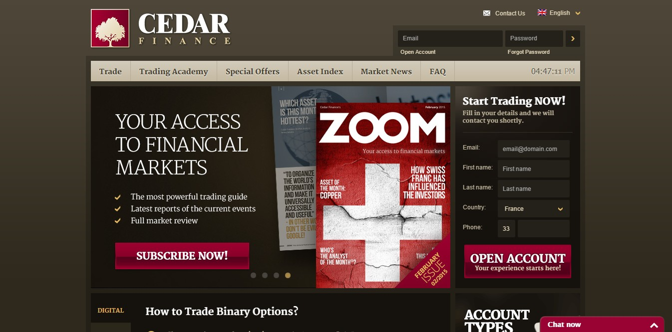 Cedar finance binary options platform